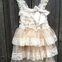 Rustic Flower Girl Lace Pettidress/Rustic Flower Girl Outfit/Ivory Flowergirl/Country Wedding nd