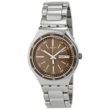 Swatch Irony Brown Dial Stainless Steel Bracelet Mens Watch YGS753G