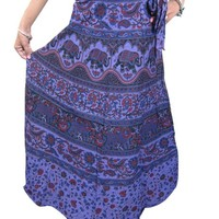 Indian Wrap Skirt Ethnic Printed Cotton Purple Long Wrap Around Skirt Beach Dress