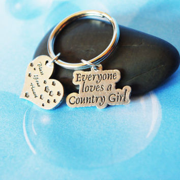 Everyone Loves a Country Girl Bless Your Heart with Little Hearts Keychain