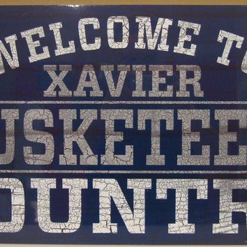 "XAVIER MUSKETEERS WELCOME TO MUSKETEERS COUNTRY WOOD SIGN 13""X24'' NEW WINCRAFT"