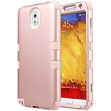 ULAK Galaxy Note 3 Case, Note 3 Case Knox Armor 3 in 1 PC+Silicone Hybrid Dust Scratch Resistance Anti-slip Cover for Samsung Galaxy Note 3,Note III,N9000,N9005,Rose Gold