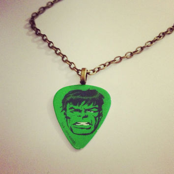 Retro Incredible Hulk Guitar Pick Necklace by RabbitJewellery