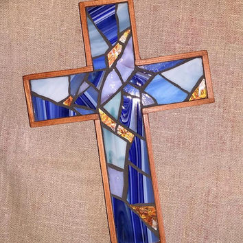 Handmade Cobalt Blue Hanging Cross, Wooden Wall Cross, Blue Stained Glass Mosaic Cross, Unique Crucifix, Cobalt Blue Cross Wall Decor