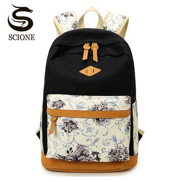 Scione Nubuck Leather Backpack Canvas School Backpacks Schoolbags for Teenage Girls Student Flower Printing Back Pack Travel Bag