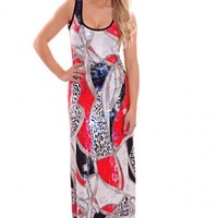 Red Multi Printed Shimmer Scoop Neck Cutout Back Maxi Dress