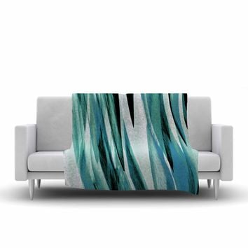 "Nina May ""Teal Brush Strokes"" Teal White Painting Fleece Throw Blanket"