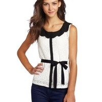 My Michelle Juniors Lace Detail Sleeveless Top