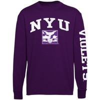 NYU Violets New Agenda Distressed Arch & Logo Long Sleeve T-Shirt - Purple