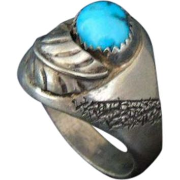 Turquoise Men's Ring Sterling Silver Navajo