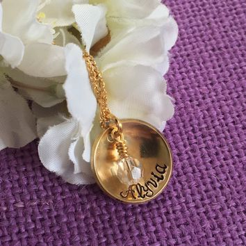 Gold Name Necklace - Jewelry - Name Birthstone Necklace - Name Jewelry - cupped disc - minimalist