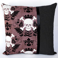 14x14 Skully Skull & Crossbones with Polka Dots Throw Pillow - Sabbie's Purses and More