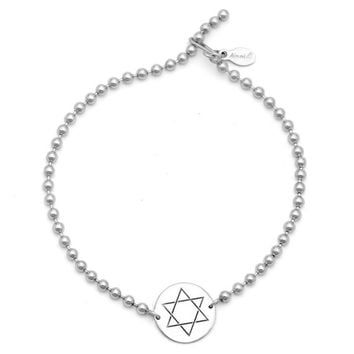 Alex and Ani Star of David Beaded Bracelet - Argentium Silver