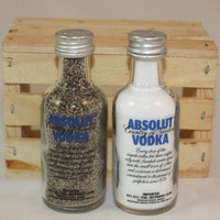 Salt & Pepper Shakers Upcycled from Absolut Vodka Glass Mini Liquir Bottles