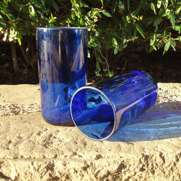 Wine Bottle Glasses Recycled from Cobalt Blue Wine Bottles 16oz  Set of 2