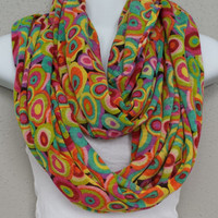 Patterned Scarf Multicolor Circles Scarf 70's Style Infinity Scarf Eternity Loop Unique Scarf Bright Scarf Colorful Infinity Scarves
