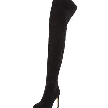 Sam Edelman Bernadette Pointed-Toe Over-the-Knee Boot, Black