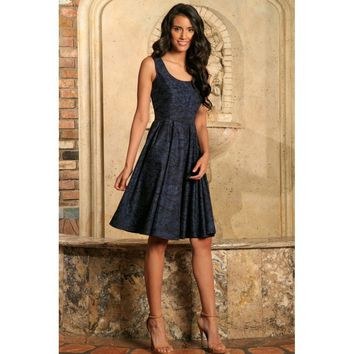 Navy Blue Animal Print Sleeveless Skater Evening Party Dress - Women