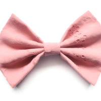 BIG Hair Bow - Pink Lace