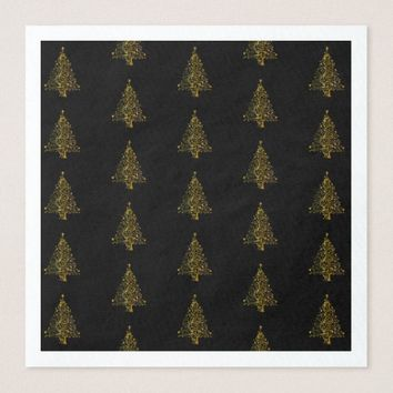 Merry Christmas Tree Pattern Gold Black Elegant Paper Dinner Napkin