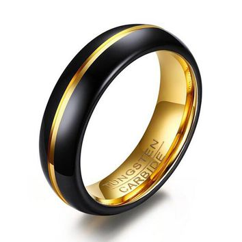 2017 New Quality Tungsten Carbide Ring for Men Vintage Black Gold-Color 6mm Wedding Band Ring