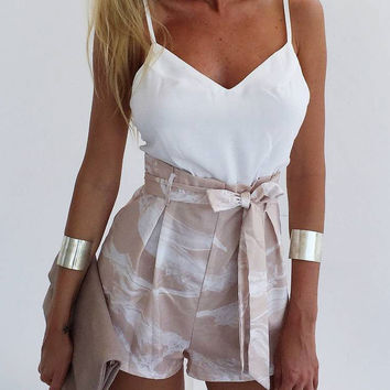 V-neck Belted Straps Rompers White Blouse Floral Printed Shorts Two-piece Rompers