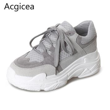 2018 New Arrived Spring Women  Shoes For Woman Flat Heels Casual Sneakers Western Style Platform Grey Flats for School Girls