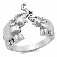Sterling Silver Women's Ring Two Elephants 14MM