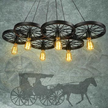 Vintage Loft Personality Wrought Iron Wheel Pendant Light Industrial Retro Edison Bulb Decorative Pendant Lamp Fixture Lightings