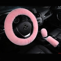 New Pink 3pcs Plush Car Steering Wheel Covers Winter Faux Wool Hand Brake & Gear Cover Set Car Seat Cover Interior Accessories