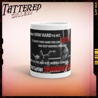 ROCKY SHOTS. rocky balboa, sylvester stallone inspired hard hitting quote full color mug