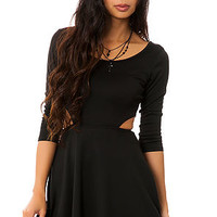 The Ponte Skater Dress with Cut Outs in Black