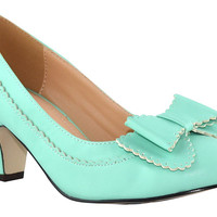 Retro Vintage Inspired 60's Scalloped Edge Bow Mint Green Pumps
