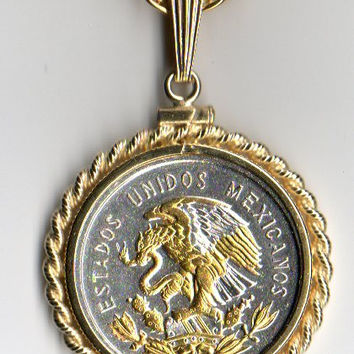 Gorgeous 2-Toned Gold & Silver Mexican Eagle ,  Coin Necklaces