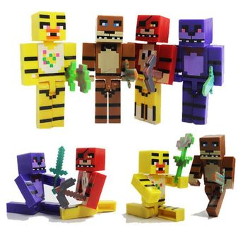 4pcs for Minecraft  Plastic Toy Set  At  Foxy Chica Bonnie Freddy Action Figures with Sword Kid Toy Gift