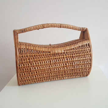 Knitting wicker basket vintage French decoration