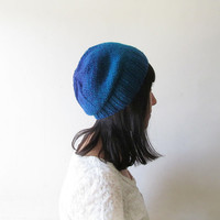 Ombre Slouchy Hat, Teal Blue Slouchy Beanie, Women Hand Knit Hat, Wool Blend, Seamless Winter Beanie, Gift for Her, Made to Order