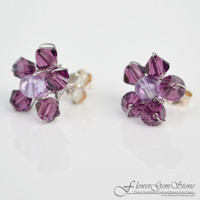 Stud Silver Earring Amethyst Gem Stone with Swarovski Crystal Bead Handmade by Flower GemStone