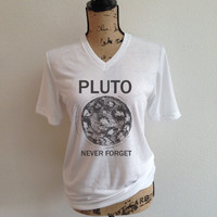 pluto, never forget, nasa shirt, jpl, shirt, nasa logo, tumblr shirt, trending, rocket, rocket ship, outer space