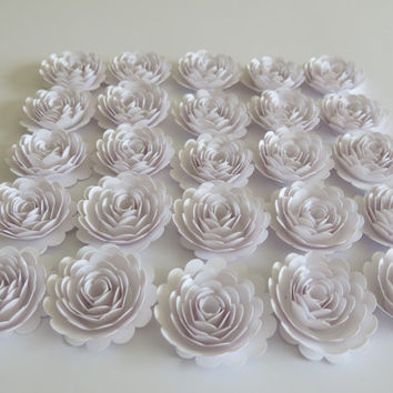 "Set of 25 white paper flowers, 1.5"" roses, small carnations, winter wedding decorations, most popular bridal shower decor, loose floral art"