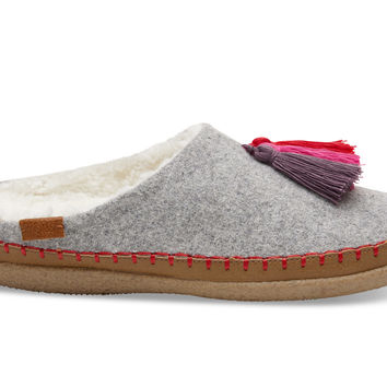 DRIZZLE GREY WOOL TASSEL WOMEN'S IVY SLIPPERS