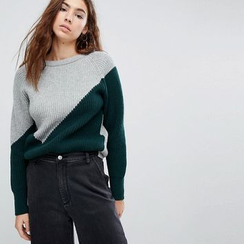 EVIDNT Two Tone Knit Sweater at asos.com