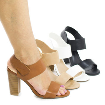 Sandra1 Open Toe Velcro Ankle Cuff Chunky High Heel Sandals