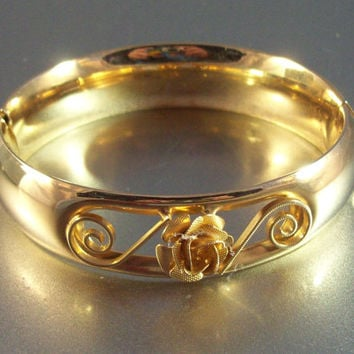 Vintage Victorian Revival Gold Filled Bangle Bracelet, Open Filigree, Raised Dimensional Rose