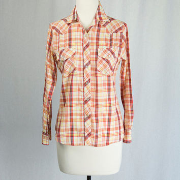 Vintage 1970's Western Shirt Orange Plaid Long Sleeve