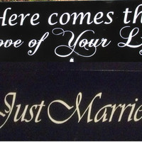 """Double Sided Ring Bearer Sign / With or Without Ribbon to Hold Rings / """"Here comes the Love of your life"""" / """"Just Married"""" / Hand Painted"""