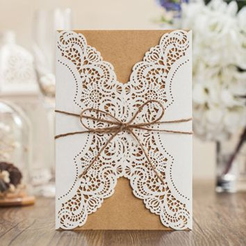 50pcs/lot Laser Cut Wedding Invitations Cards Elegant  Invitation with Envelopes Free Printable Invitation Mariage