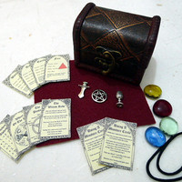 MINIATURE ALTAR KIT - pocket travel set wicca wiccan pagan athame chalice spell