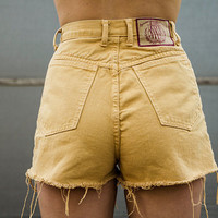 Custard Yellow High Waisted Shorts