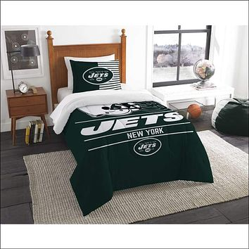 """Jets OFFICIAL National Football League, Bedding, """"""""Draft"""""""" Printed Twin Comforter (64""""""""x 86"""""""") & 1 Sham (24""""""""x 30"""""""") Set  by The Northwest Company"""
